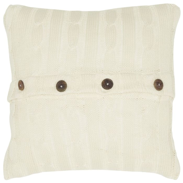 Cable Knit Buttoned Back Solid Decorative Filled Pillow