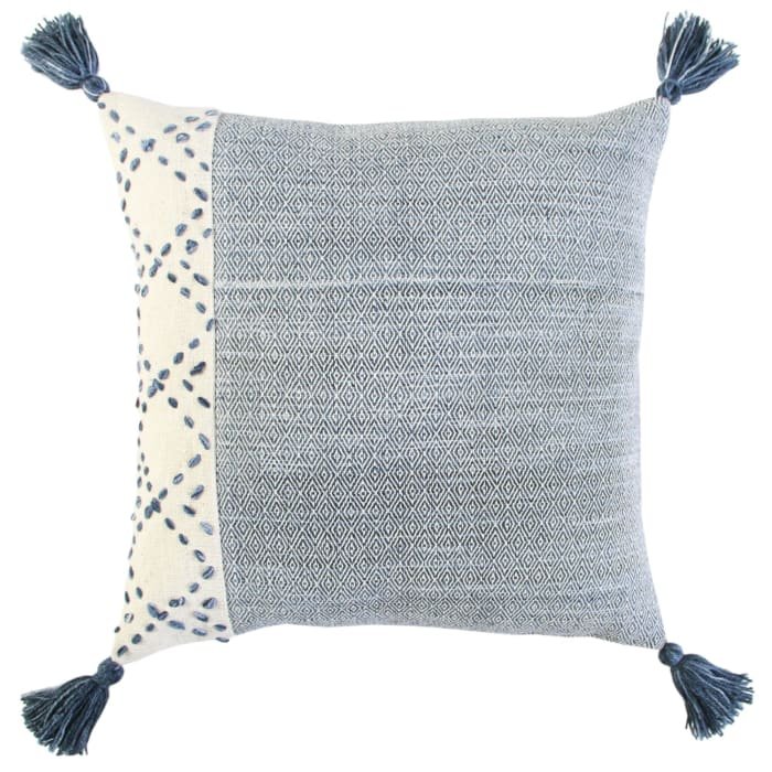Color Block Tasseled Ivory/Blue Pillow Cover