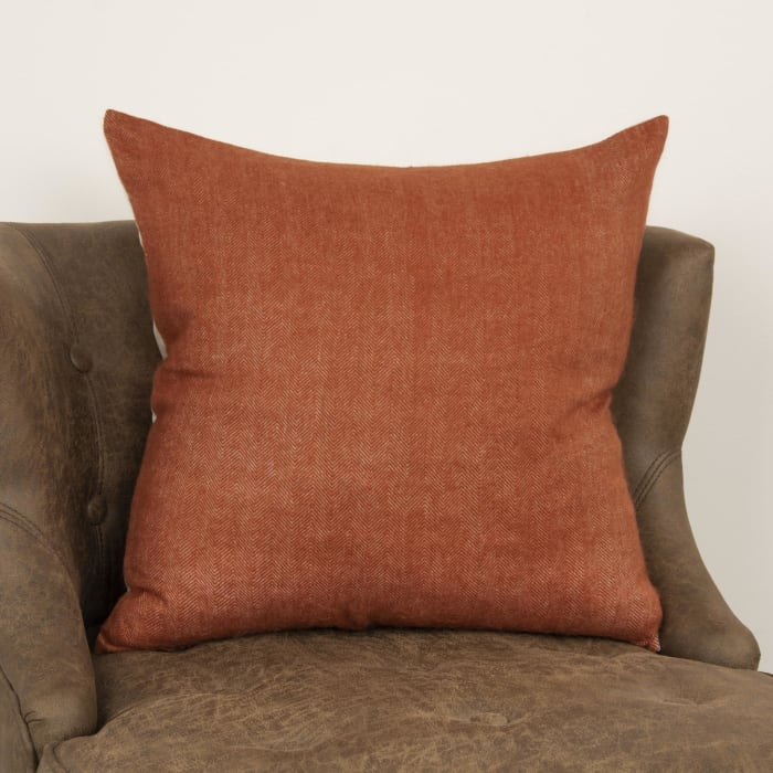 Solid Tweed Orange Poly Filled Pillow