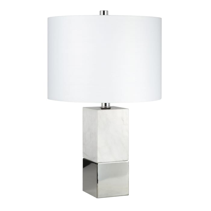 Laural Table Lamp in Carrara Style Marble and Nickel