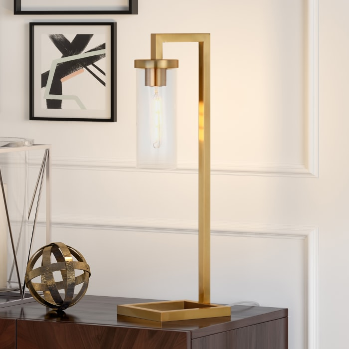 Table Lamp in Brass and Clear Glass