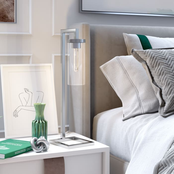 Table Lamp in Nickel and Clear Glass