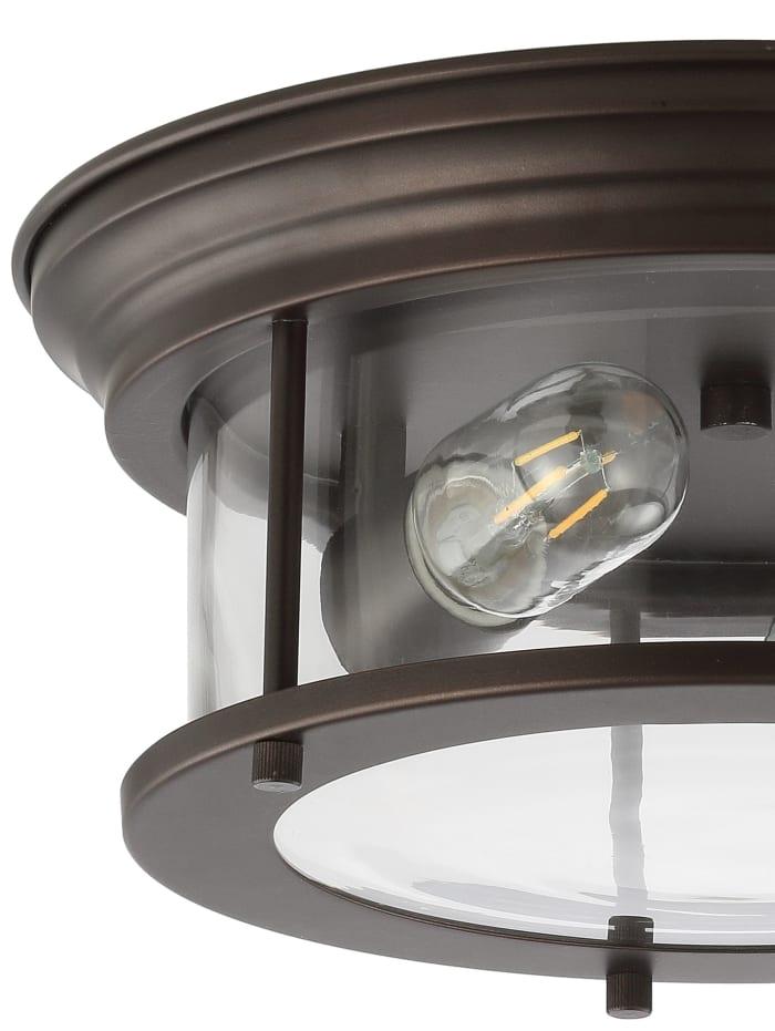 Metal/Glass LED Flush Mount, Oil Rubbed Bronze