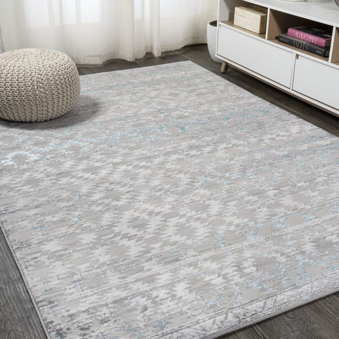 Ancient Faded Trellis Gray/Turquoise 4 ft. x 6 ft. Area Rug
