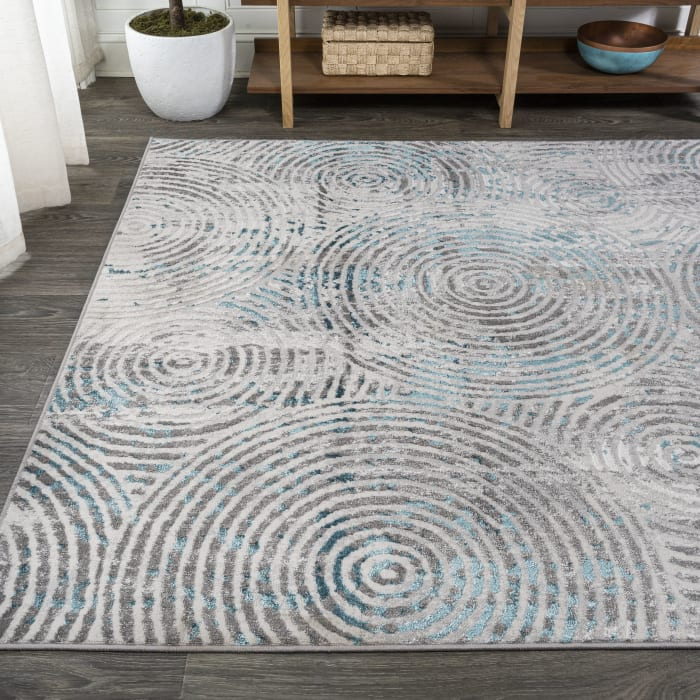 Timeworn Modern Abstract Gray/Turquoise 8 ft. x 10 ft. Area Rug