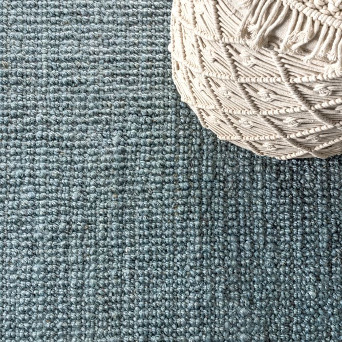 Para Hand Woven Chunky Jute with Fringe Light Blue/Gray 4 ft. x 6 ft. Area Rug