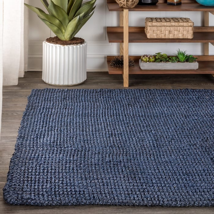 Pata Hand Woven Chunky Jute Navy 4 ft. x 6 ft. Area Rug