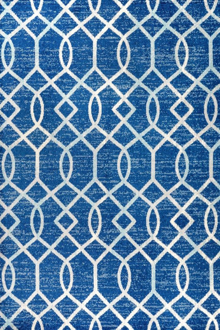 Ogee Fretwork Blue/Gray Area Rug