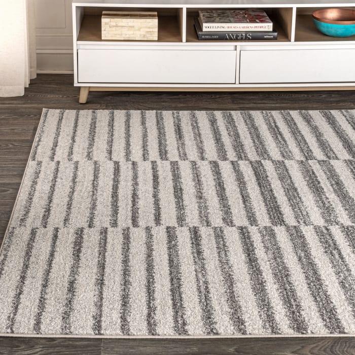 Offset Stripe Gray/Cream Area Rug
