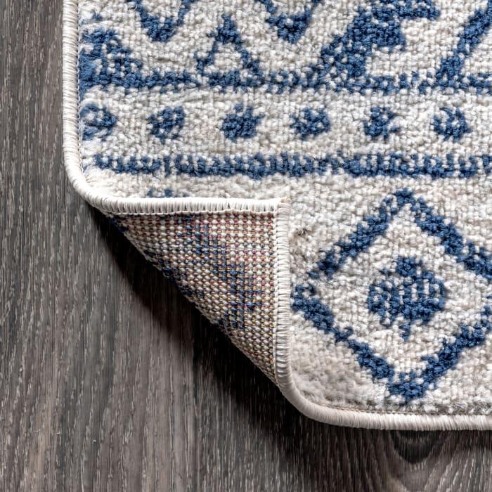 Moroccan HYPE Boho Vintage Tribal Cream/Blue 4 ft. x 6 ft. Area Rug