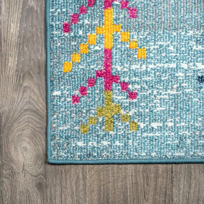 Tribal Love Geometric Light Blue/Multi Area Rug