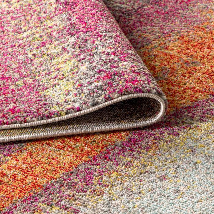 Contemporary POP Modern Abstract Vintage Cream/Pink Runner Rug
