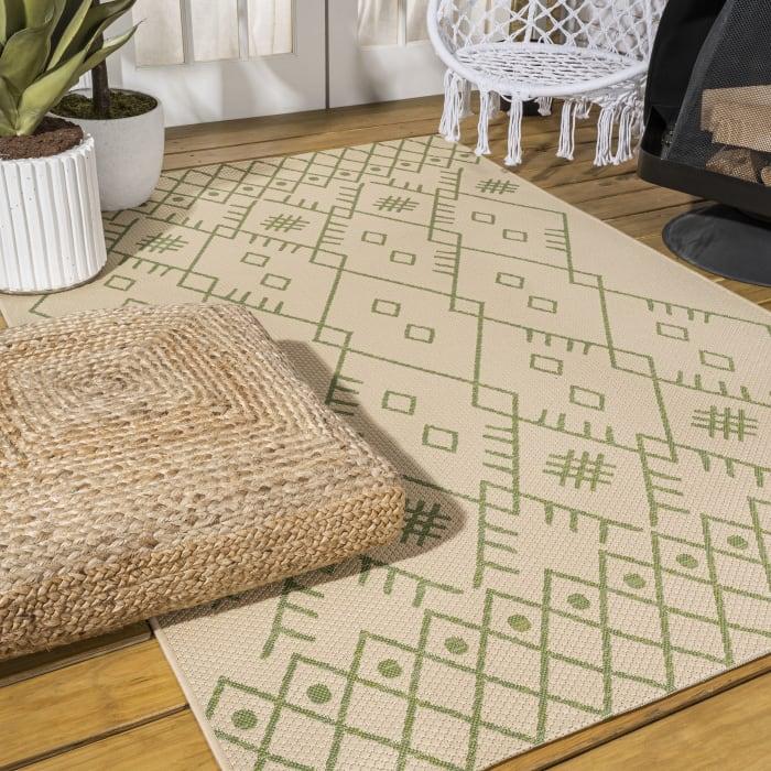 Boho Moroccan Indoor/Outdoor Beige/Green Area Rug
