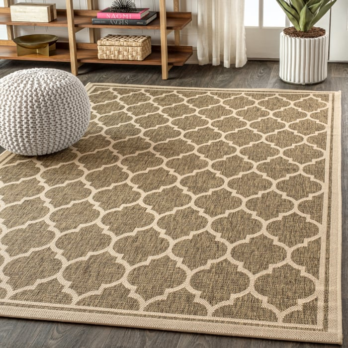 Trebol Moroccan Trellis Textured Weave Indoor/Outdoor Brown/Beige Area Rug