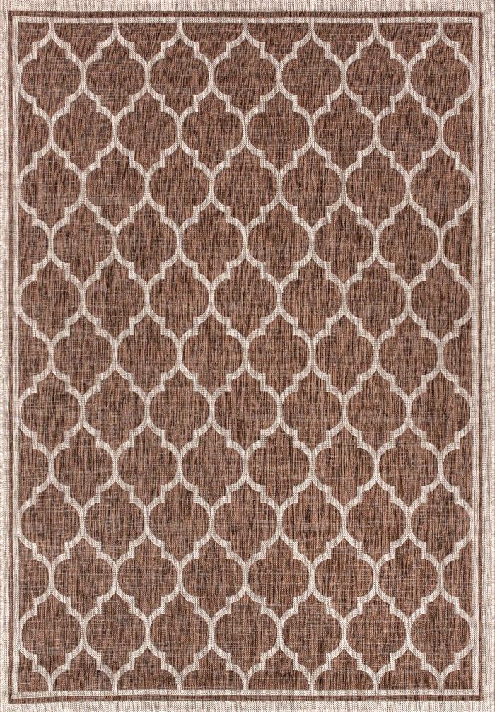 Trebol Moroccan Trellis Textured Weave Indoor/Outdoor Espresso/Taupe 8 ft. x 10 ft. Area Rug