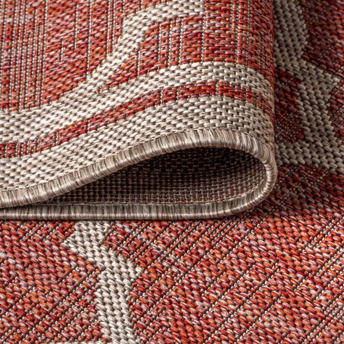 Trebol Moroccan Trellis Textured Weave Indoor/Outdoor Red/Beige Area Rug
