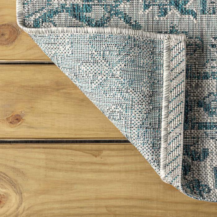 Bohemian Medallion Textured Weave Indoor/Outdoor Teal/Gray Runner Rug