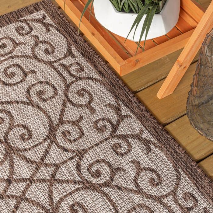 Vintage Filigree Textured Weave Indoor/Outdoor Taupe/Espresso Runner Rug