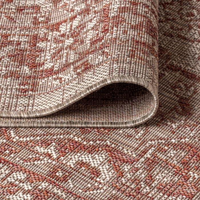 Rozetta Boho Medallion Textured Weave Indoor/Outdoor Red/Taupe 2 ft. x 8 ft. Runner Rug