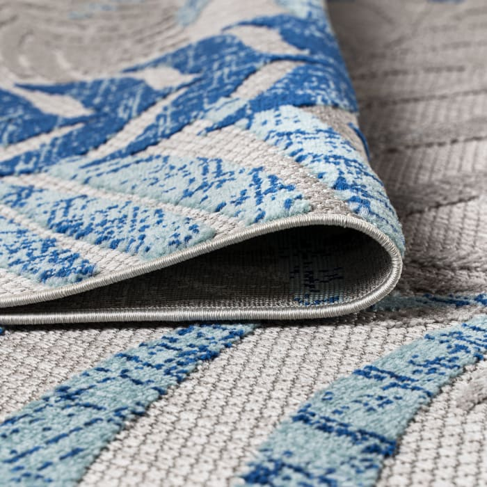 Tropics Palm Leaves Indoor/Outdoor Gray/Blue Area Rug