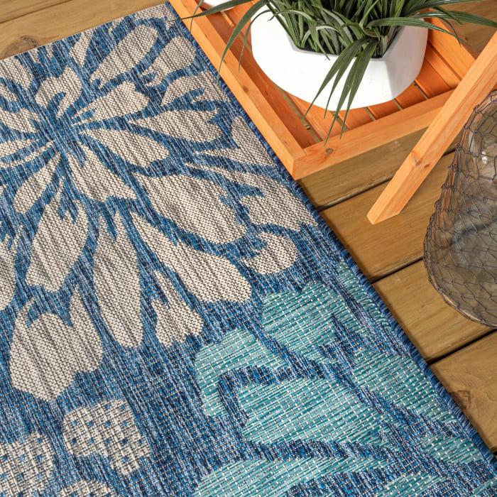 Modern Floral Textured Weave Indoor/Outdoor Navy/Aqua Runner Rug