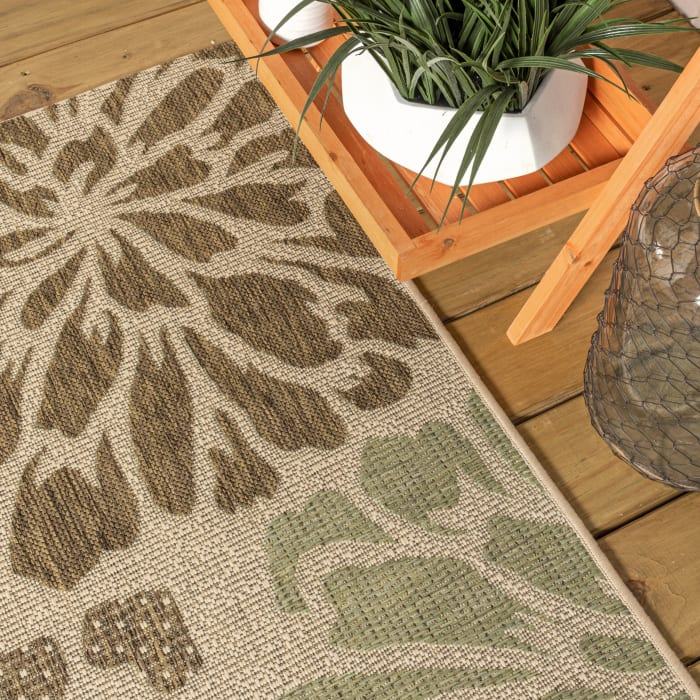 Zinnia Modern Floral Textured Weave Indoor/Outdoor Sage/Brown 2 ft. x 8 ft. Runner Rug