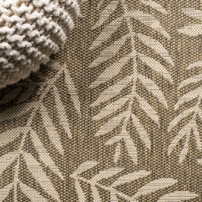 Nevis Palm Frond Indoor/Outdoor Brown/Beige 2 ft. x 8 ft. Runner Rug