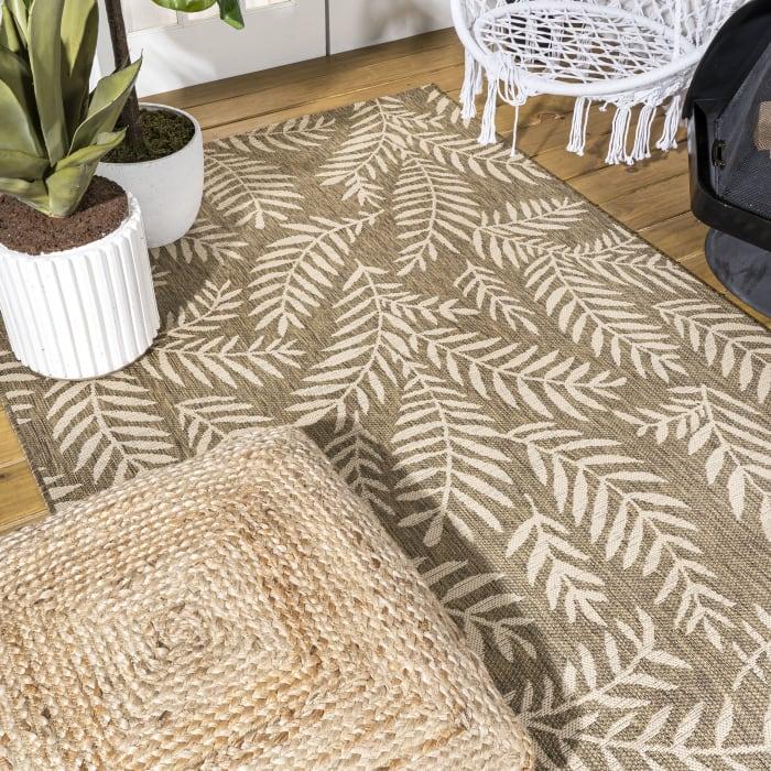 Nevis Palm Frond Indoor/Outdoor Brown/Beige 3 ft. x 5 ft. Area Rug