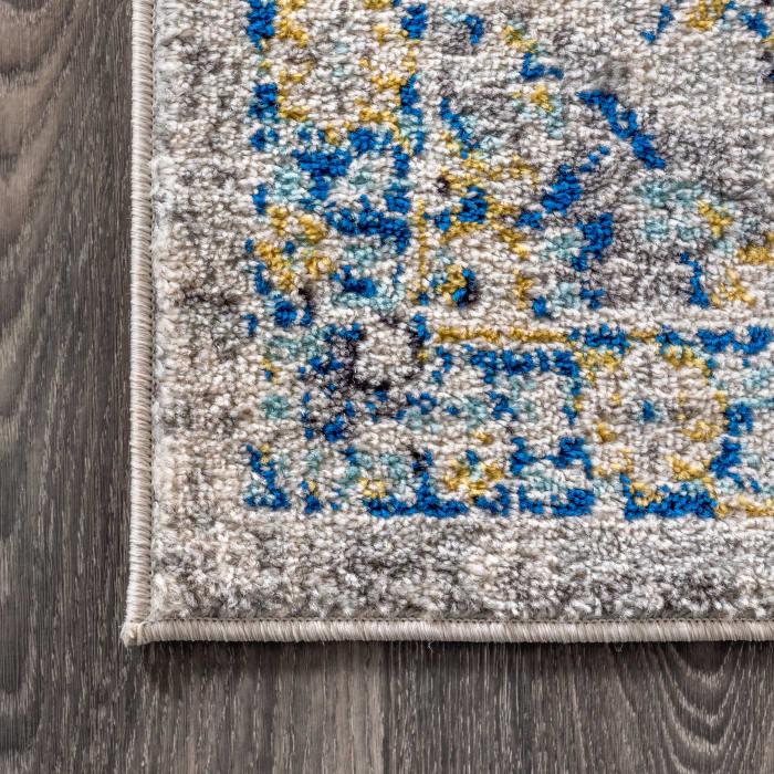 Modern Persian Boho Vintage Trellis Blue/Multi 2 ft. x 8 ft. Runner Rug