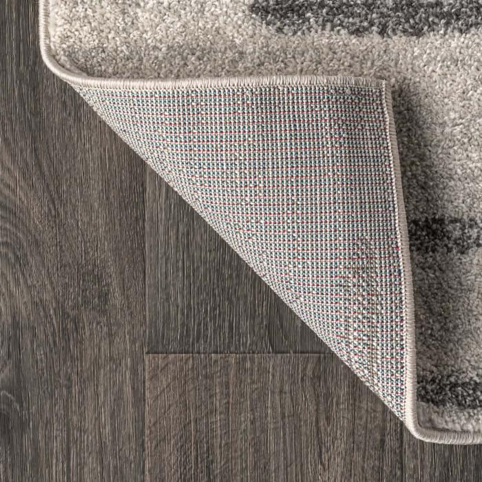 Berber Stripe Geometric Cream/Gray Runner Rug