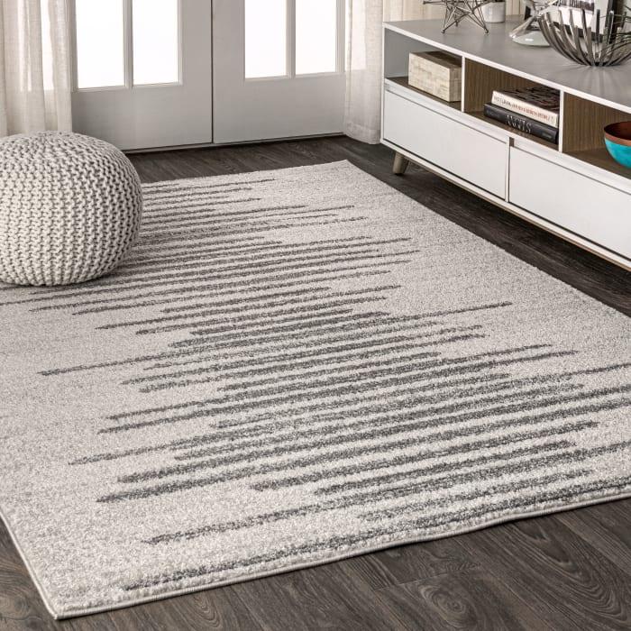 Aya Berber Stripe Geometric Cream/Gray 3 ft. x 5 ft. Area Rug