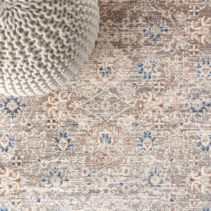 English Country Argyle Gray/Blue Runner Rug