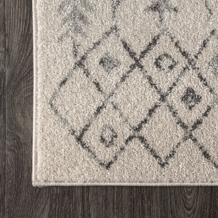 Ziri Moroccan Geometric Cream/Gray 3 ft. x 5 ft. Area Rug
