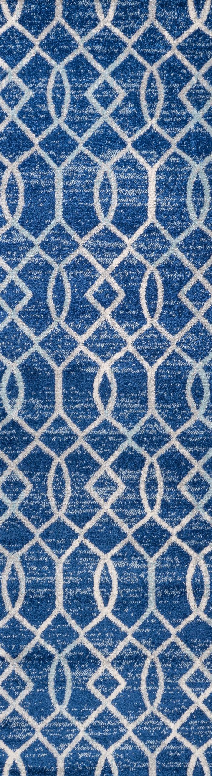Ogee Fretwork Blue/Gray Runner Rug