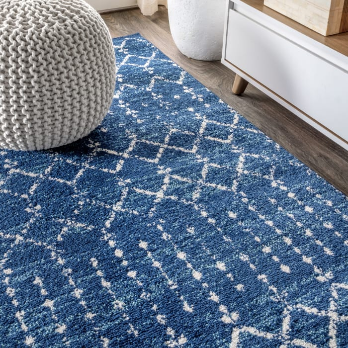Moroccan HYPE Boho Vintage Diamond Blue/White Runner Rug