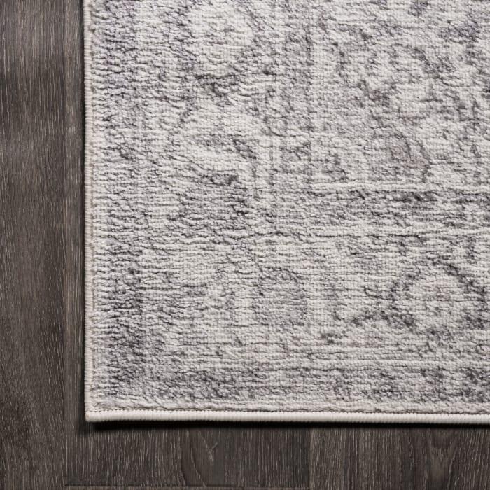 Rosalia Cottage Medallion Gray/Dark Gray 2 ft. x 10 ft. Runner Rug