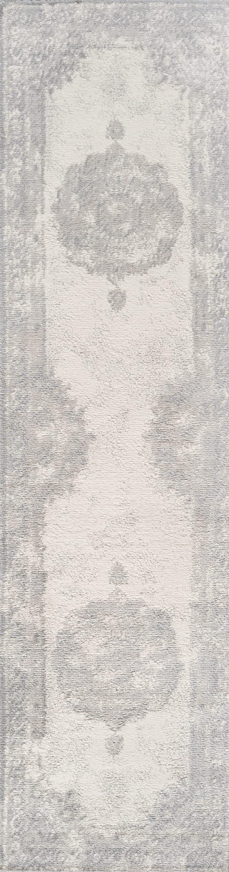 Cottage Medallion Gray/Ivory Runner Rug