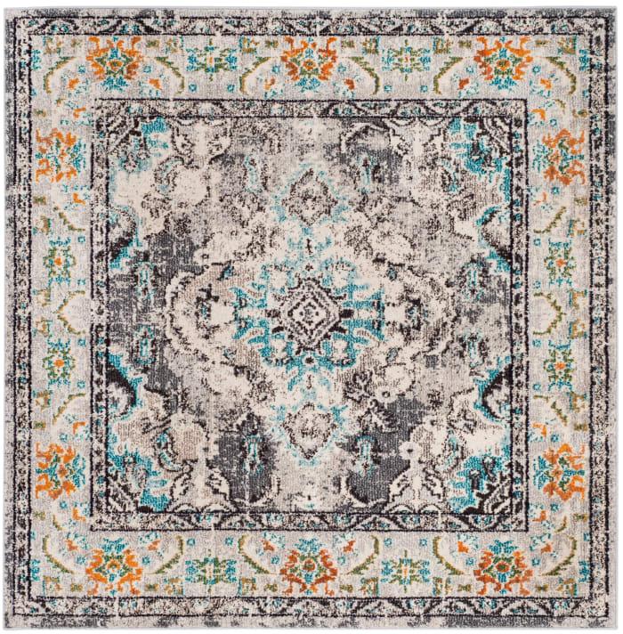 Gemma 243 5' X 5' Square Gray Polypropylene Rug