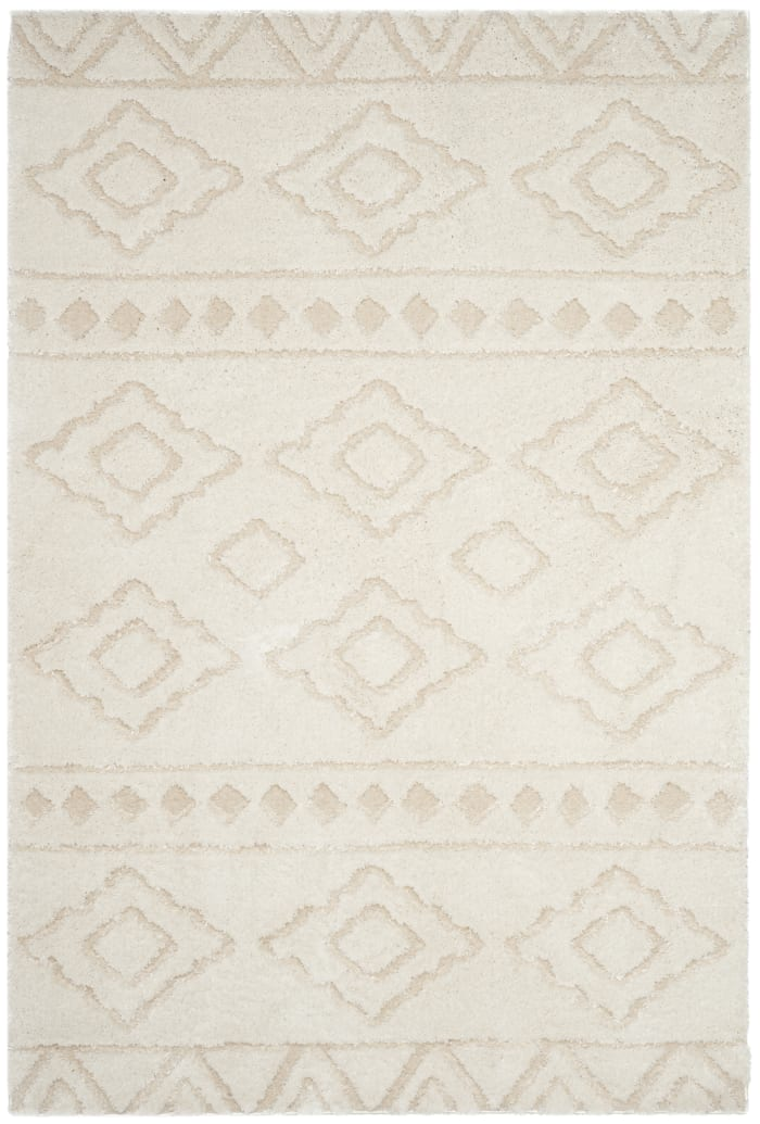 Ivory Polyester Rug 4' x 6'