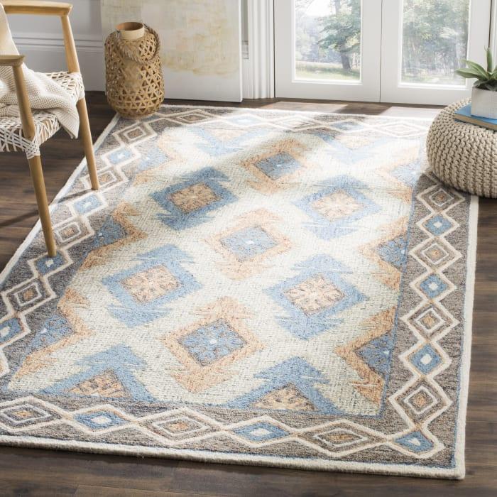 Essence 401 5' X 5' Round Blue Wool Rug