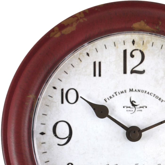 Patina Distressed Red  Wall Clock