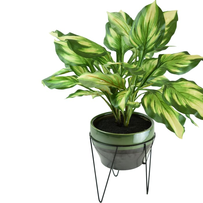 Faux Hosta Arrangement with Ceramic Pot & Iron Stand