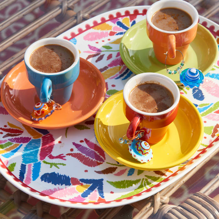 Colorful Stacking Espresso Mugs Set with Saucers