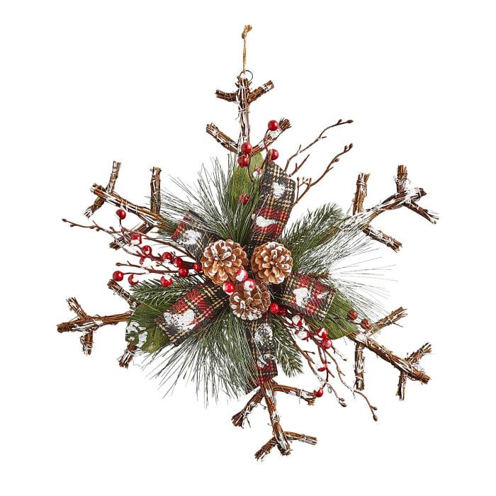 Rattan Snowflake Door Hanger