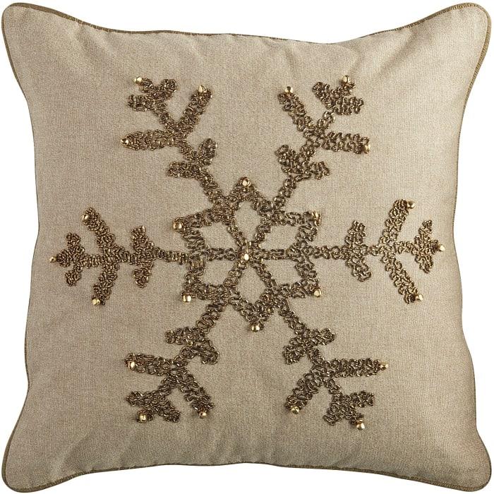 Beaded Snowflake Pillow - Natural