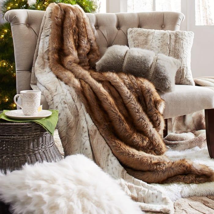 Fuzzy Faux Snow Leopard Pillow