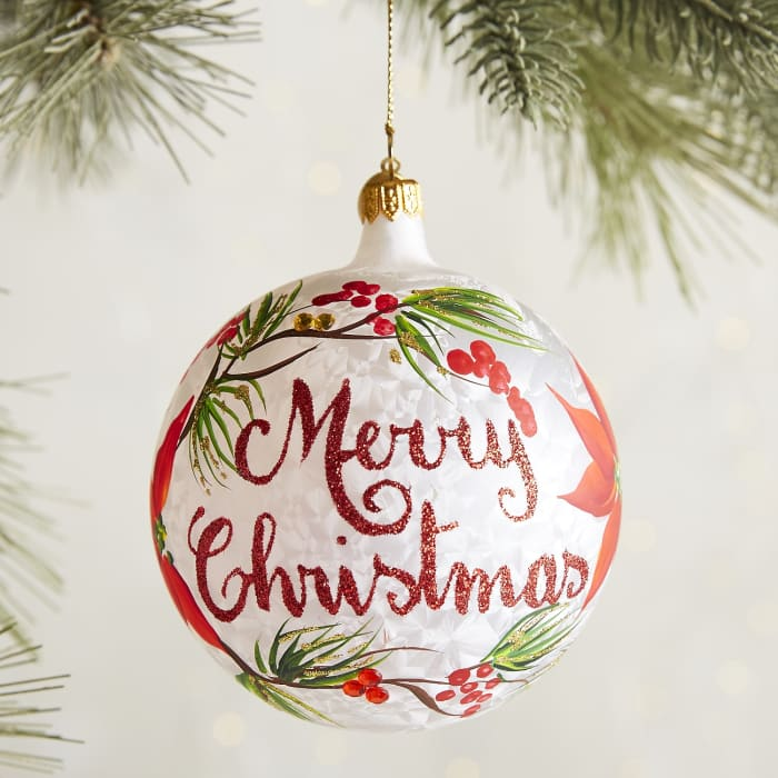 European Merry Christmas Poinsettia Ornament