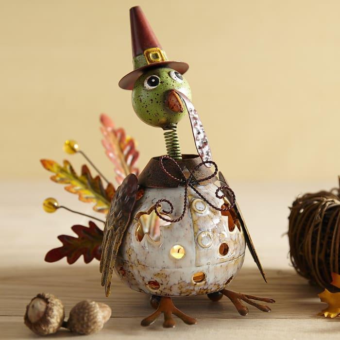 Sitting Turkey Bobblehead Tealight Candle Holder