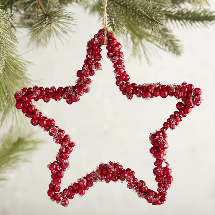 Red Faux Berry Star Ornament