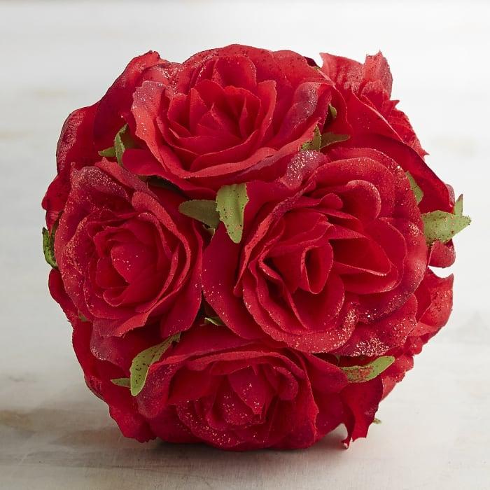 Glitter Red Rose Decorative Sphere